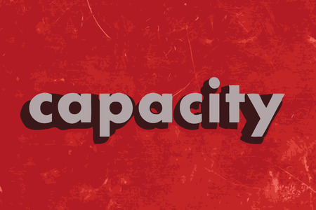 capacity: capacity vector word on red concrete wall Illustration
