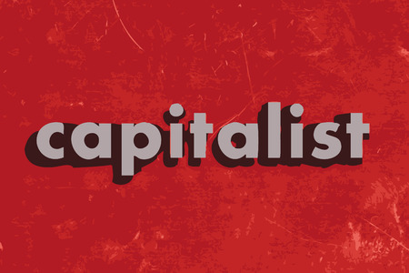 capitalist: capitalist vector word on red concrete wall