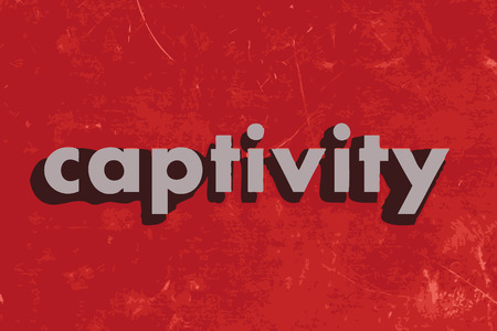 captivity: captivity vector word on red concrete wall