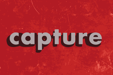 capture: capture vector word on red concrete wall Illustration