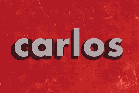 carlos: carlos vector word on red concrete wall