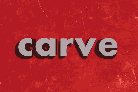 carve: carve vector word on red concrete wall Illustration