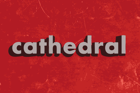 cathedrals: cathedral vector word on red concrete wall