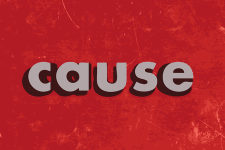 cause: cause vector word on red concrete wall