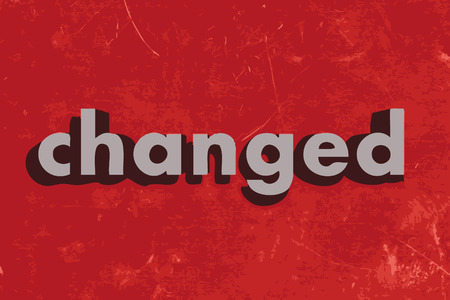 changed: changed vector word on red concrete wall