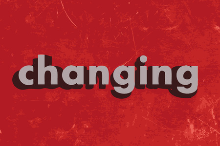 changing: changing vector word on red concrete wall Illustration
