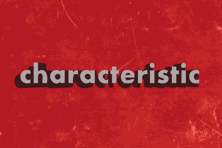 characteristic: characteristic vector word on red concrete wall Illustration
