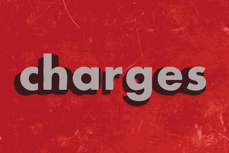 charges: charges vector word on red concrete wall Illustration