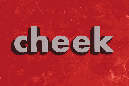 cheeks: cheek vector word on red concrete wall