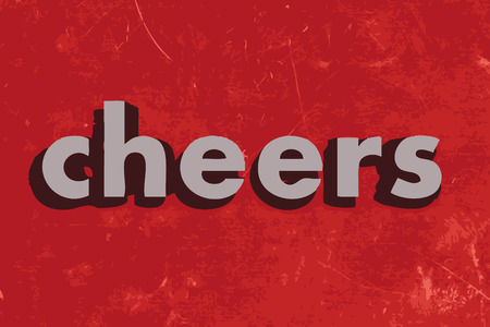cheers: cheers vector word on red concrete wall Illustration