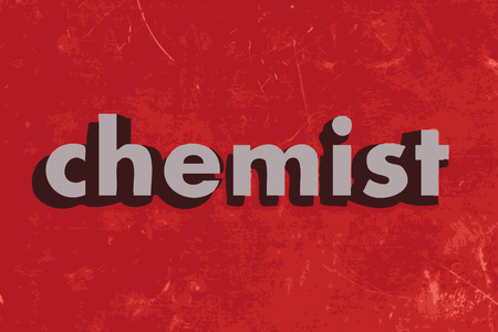 chemist: chemist vector word on red concrete wall