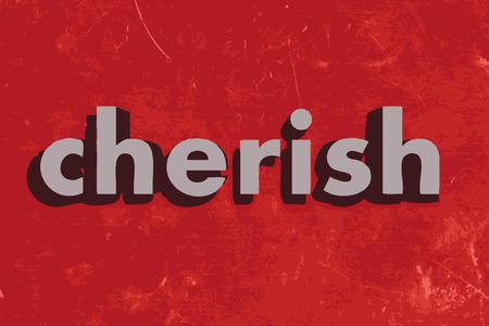 cherish: cherish vector word on red concrete wall