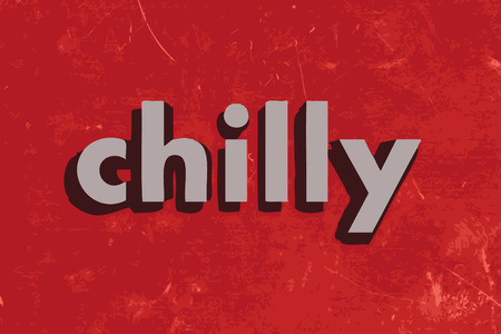 chilly: chilly vector word on red concrete wall