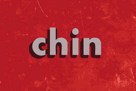 chins: chin vector word on red concrete wall Illustration