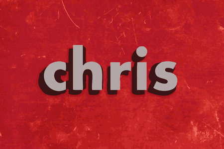 chris: chris vector word on red concrete wall Illustration