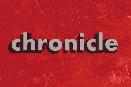 chronicle: chronicle vector word on red concrete wall Illustration