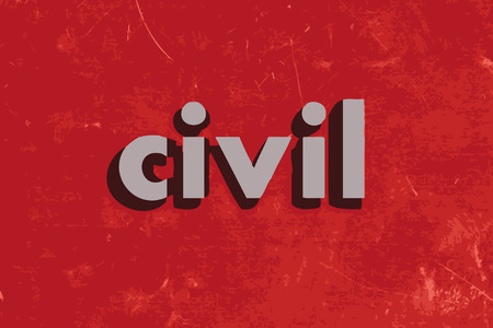 civil: civil vector word on red concrete wall
