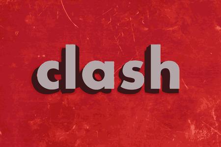clash: chocar palabra vector en rojo muro de hormig�n