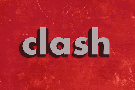 clash: clash vector word on red concrete wall