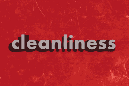 cleanliness: cleanliness vector word on red concrete wall