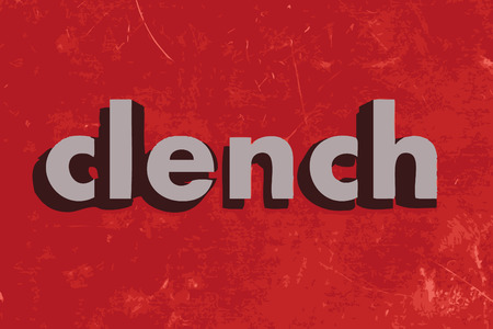 clench: clench vector word on red concrete wall