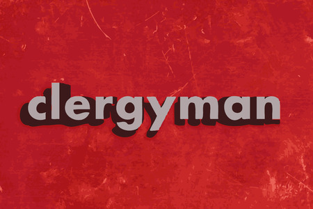 clergyman: clergyman vector word on red concrete wall