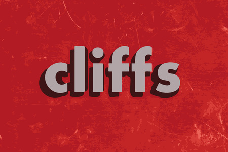 cliffs: cliffs vector word on red concrete wall