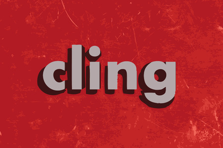 cling: cling vector word on red concrete wall