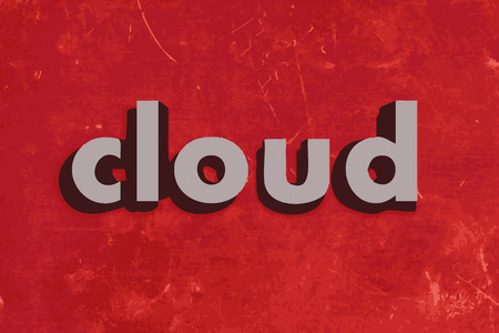 wall cloud: cloud vector word on red concrete wall