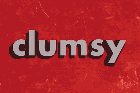 clumsy: clumsy vector word on red concrete wall