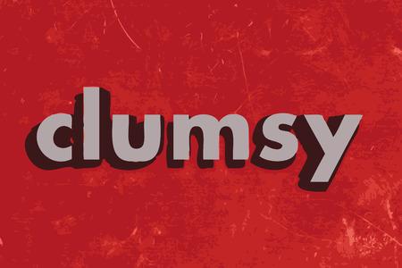 clumsy: palabra vector torpe en rojo muro de hormig�n