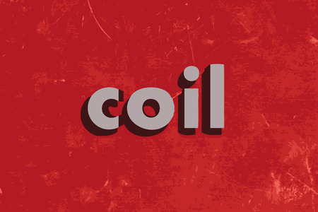 coil: coil vector word on red concrete wall