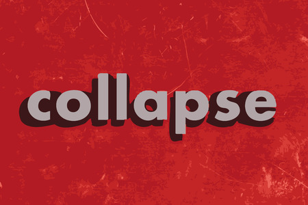 collapse: collapse vector word on red concrete wall