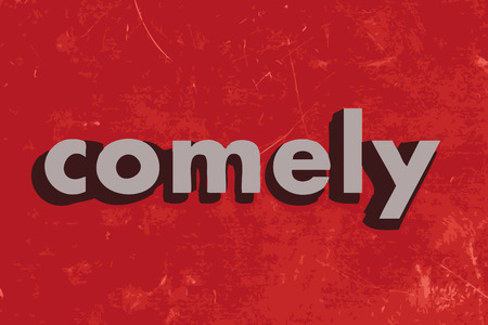 comely: comely vector word on red concrete wall