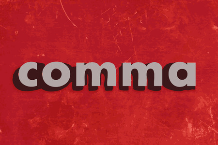 comma: comma vector word on red concrete wall