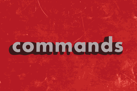 commands: commands vector word on red concrete wall Illustration