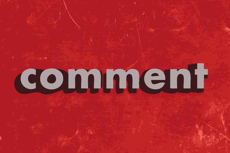 komentář: komentovat vektorová slovo na červené betonovou zeď Ilustrace