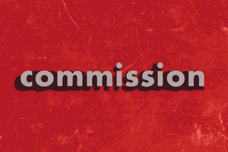 commission: commission vector word on red concrete wall