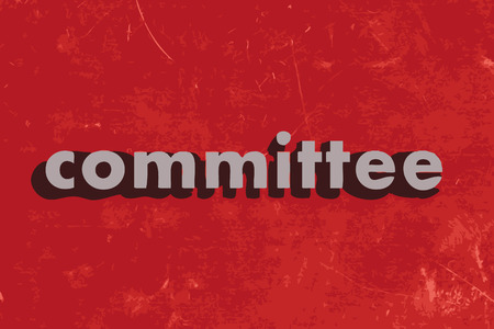 committee: committee vector word on red concrete wall