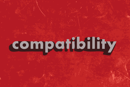 compatibility: compatibility vector word on red concrete wall Illustration