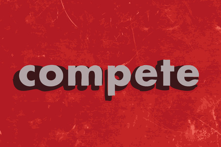 compete: compete vector word on red concrete wall