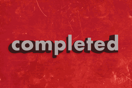 completed: completed vector word on red concrete wall