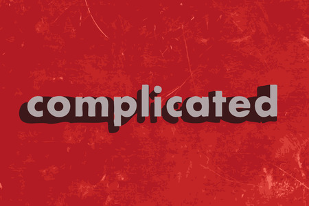 complicated: complicated vector word on red concrete wall Illustration