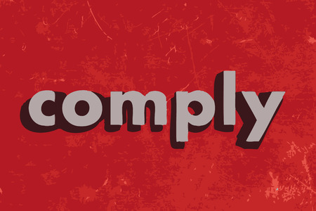 comply: comply vector word on red concrete wall Illustration