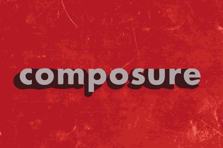 composure: compostezza parola vettore sul muro di cemento rosso