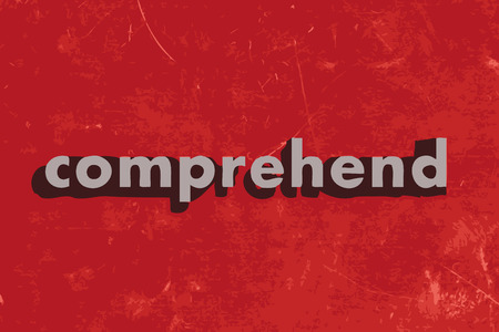 comprehend: comprehend vector word on red concrete wall