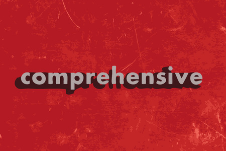 comprehensive: comprehensive vector word on red concrete wall