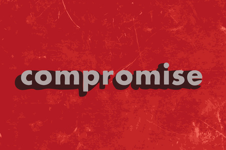 compromise: compromise vector word on red concrete wall Illustration