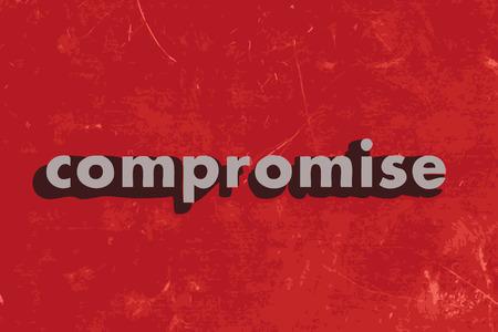 compromise: palabra vector compromiso sobre rojo pared de hormig�n