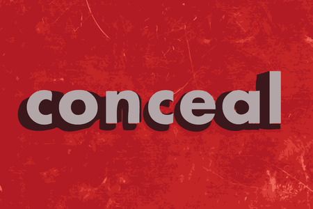 conceal: conceal vector word on red concrete wall